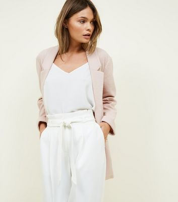 Tall Pale Pink Cross Hatch Stretch Blazer
