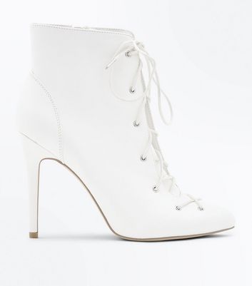 Wide Fit White Stiletto Heel Lace Up Boots
