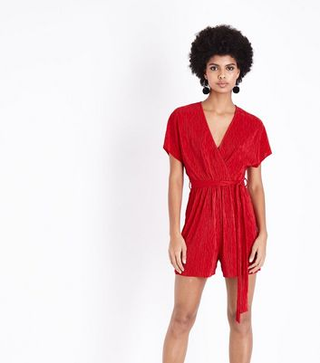 Red Plisse Wrap Front Playsuit