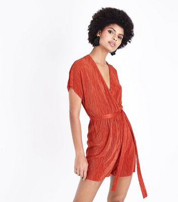 Dark Red Plisse Wrap Front Playsuit
