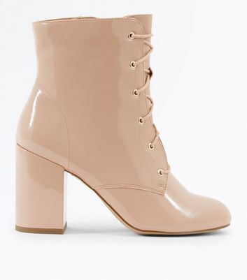 Nude Patent Lace Up Heeled Boots