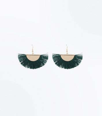 Green Tassel Fan Earrings