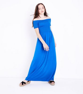 Teens Blue Shirred Maxi Dress