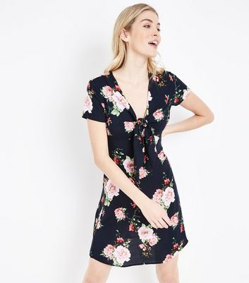 Black Floral Tie Front Mini Dress