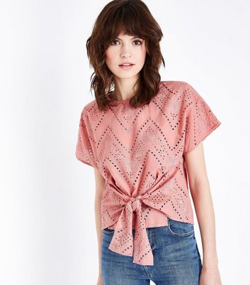 Coral Embroidered Cut Out Tie Front T-Shirt