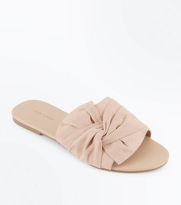 Nude Suedette Bow Knot Sliders