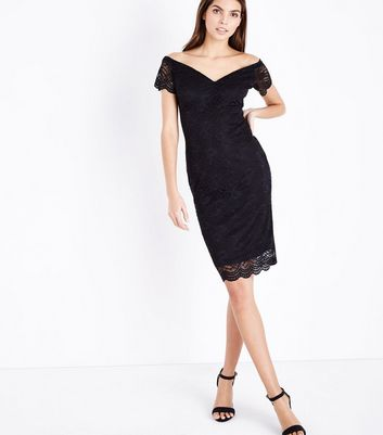 Black Scalloped Lace Sweetheart Midi Dress