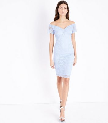 Pale Blue Scalloped Lace Sweetheart Midi Dress