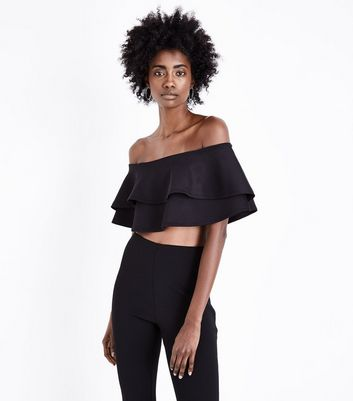 Black Frill Tiered Bardot Crop Top