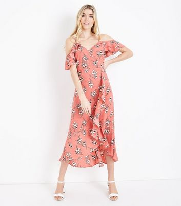 Coral Floral Cold Shoulder Midi Dress