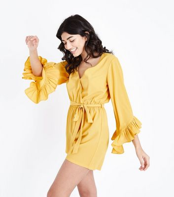 Mustard Yellow Frill Sleeve Wrap Playsuit