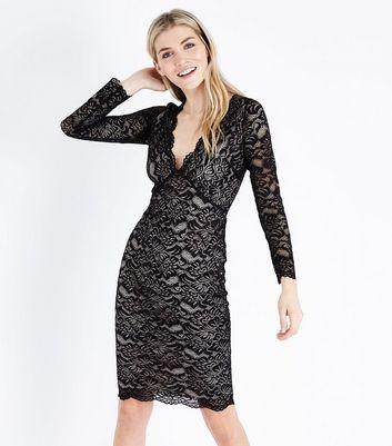 Black contrast lace collar tea dress