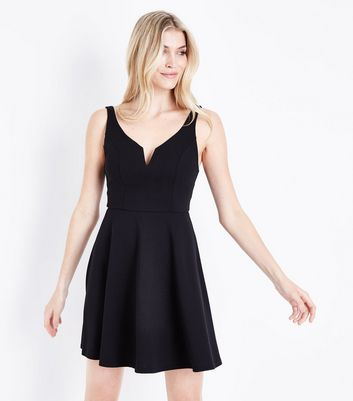 Black Notch Neck Crepe Skater Dress