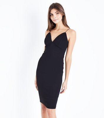 ... Black Crepe Strappy Bodycon Midi Dress