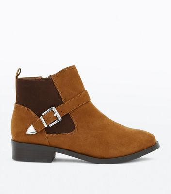 Wide Fit Tan Suedette Buckle Chelsea Boots