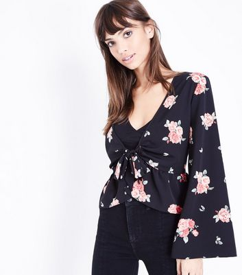 Black Floral Flared Sleeve Cover Up