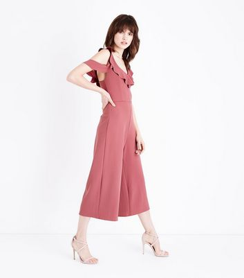 Deep Pink Frill Cold Shoulder Culotte Jumpsuit