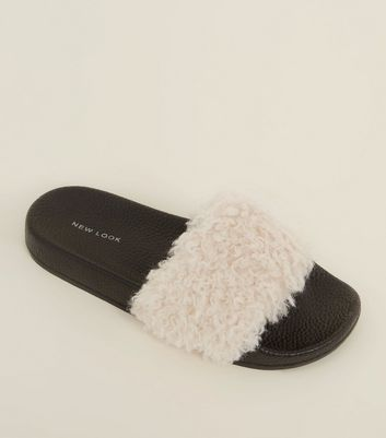 Black and White Teddy Strap Sliders
