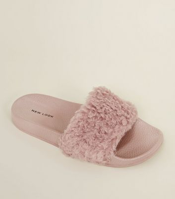 Pink Teddy Strap Sliders