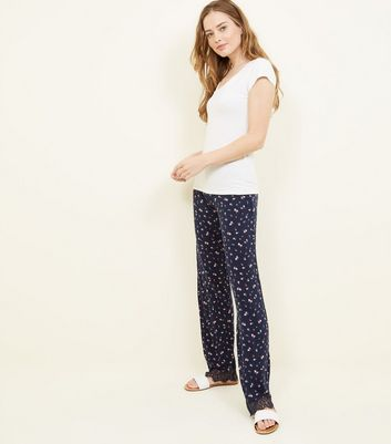 Tall Navy Ditsy Floral Lace Hem Pyjama Trousers