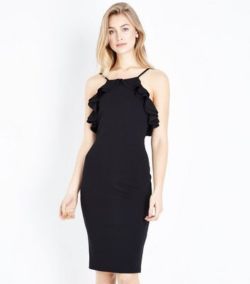 Black Frill Trim High Neck Bodycon Dress