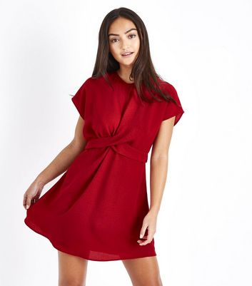 Petite Red Twist Front Tie Back Dress