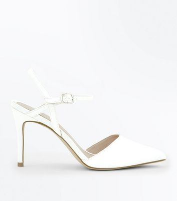 ... Off White Satin Pointed Wedding Shoes