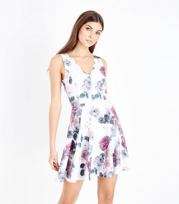 White Floral Print Scallop Neck Skater Dress