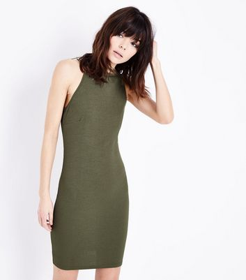 Khaki Ribbed Sleeveless Dress