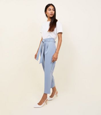 Petite Pale Blue Paperbag Waist Tapered Trousers