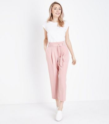 Petite Pale Pink Paperbag Waist Trousers