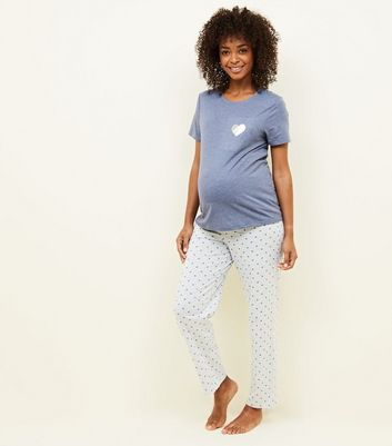 Maternity Blue Heart Jersey Pyjama Set