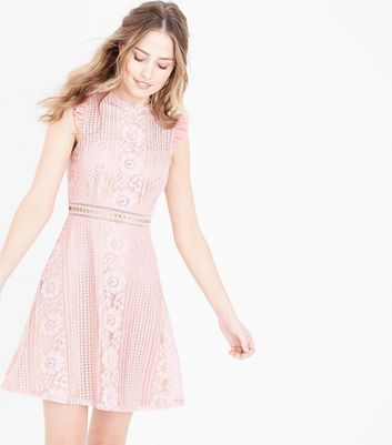 Pink Lace Frill Sleeve Skater Dress