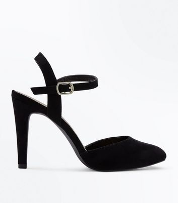 Wide Fit Black Suedette Ankle Strap Courts