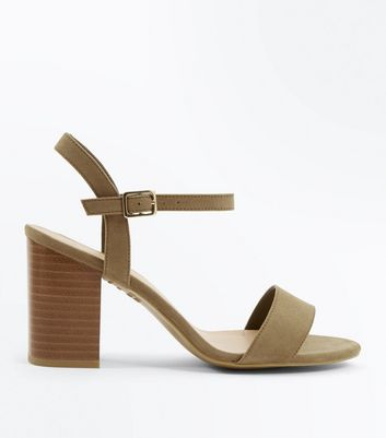 Wide Fit Khaki Suedette Wooden Block Heel Sandals
