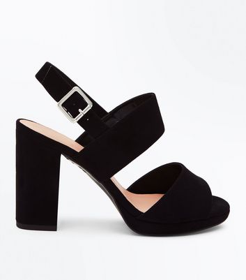 Wide Fit Black Suedette Double Strap Block Heels