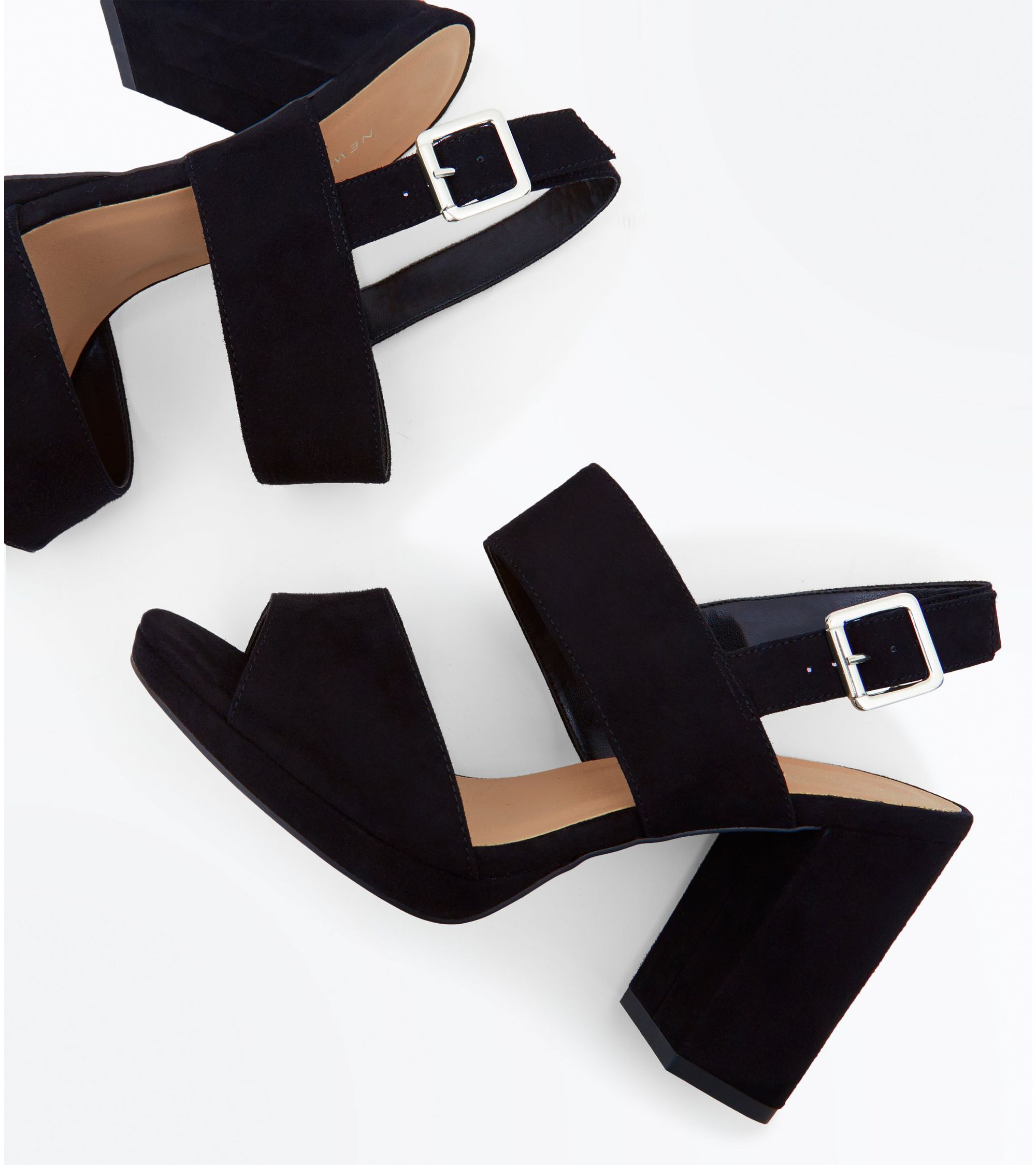 54aa999fe39b New Look Wide Fit Black Suedette Double Strap Block Heels at £25.99 ...