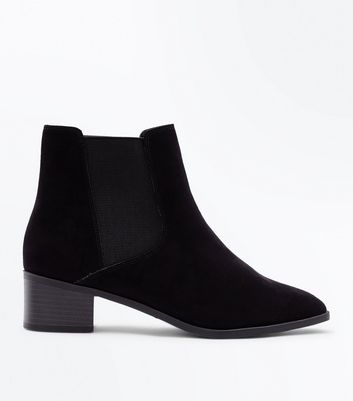 Wide Fit Black Suedette Square Toe Chelsea Boots