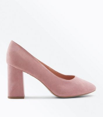 Wide Fit Pink Comfort Flex Suedette Court