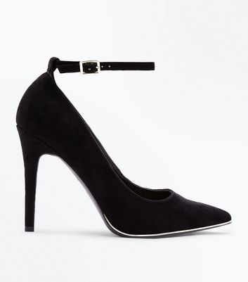 Wide Fit Black Suedette Metal Trim Pointed Courts