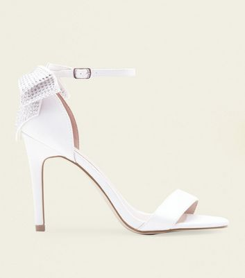 Off White Satin Diamante Bow Wedding Heels