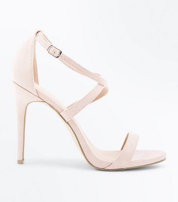 Nude Suedette Strappy Stiletto Heel Sandals