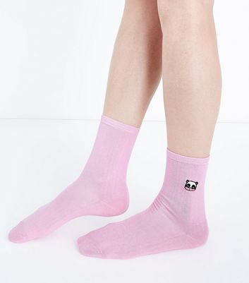 Pink Embroidered Panda Socks