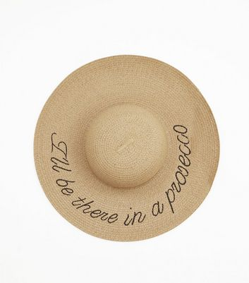 Tan Prosecco Slogan Straw Floppy Hat by New Look
