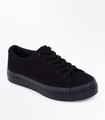 Black Canvas Flatform Trainers