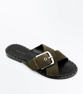 Khaki Suede Cross Strap Studded Sliders