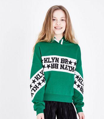 ... Teens Green Brooklyn Stripe Front Hoodie