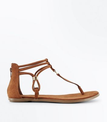 Tan Suedette Ankle Strap Flat Sandals
