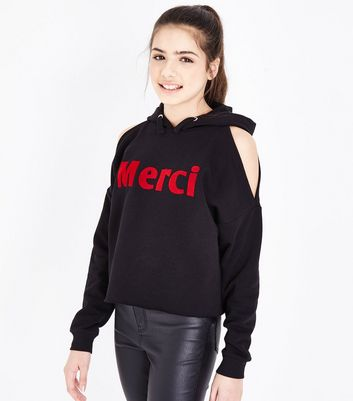 Teens Black Merci Flocked Cold Shoulder Hoodie