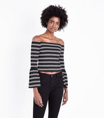 Black Stripe Bell Sleeve Bardot Neck Top